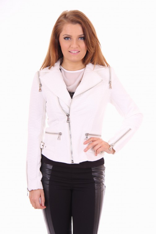 Given white jacket reptile look