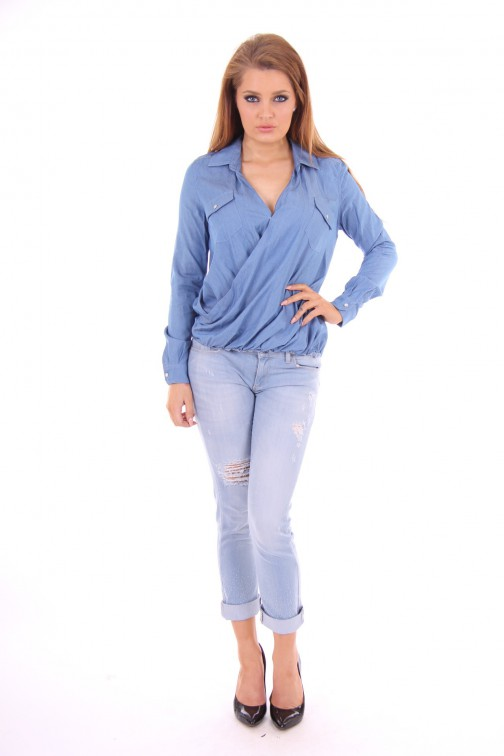 Jacky Luxury jeans blouse in overslag