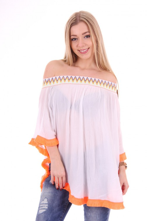 Off-shoulder poncho-tunic in white