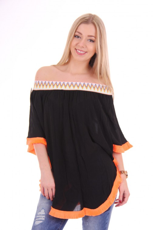 Off-shoulder poncho-tunic in black