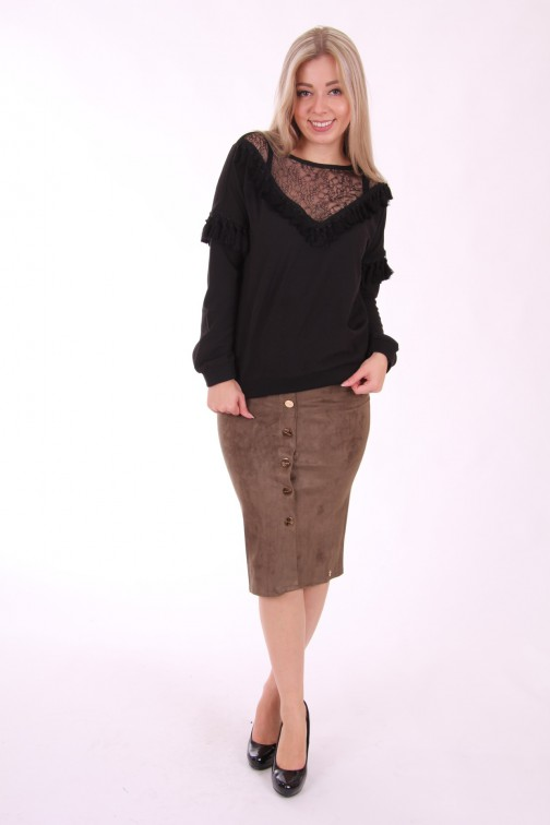 Jacky Luxury rok, suede in army