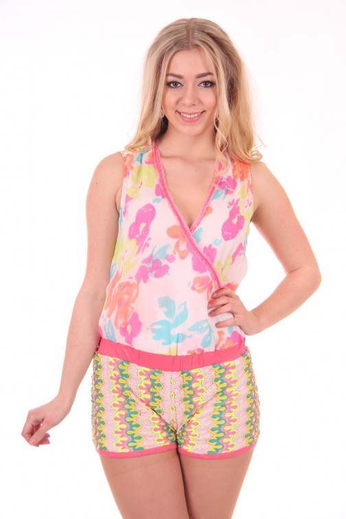 Fracomina korte jumpsuit in multicolor missoni print