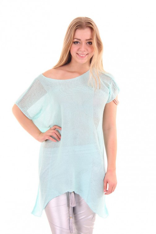 Jacky Luxury top in turquoise knit