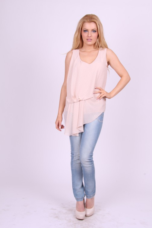 Relish top in roze a-symetrisch model