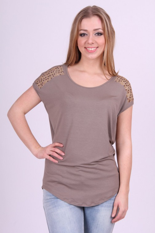 Miss Money Money tuniek in taupe met open rug