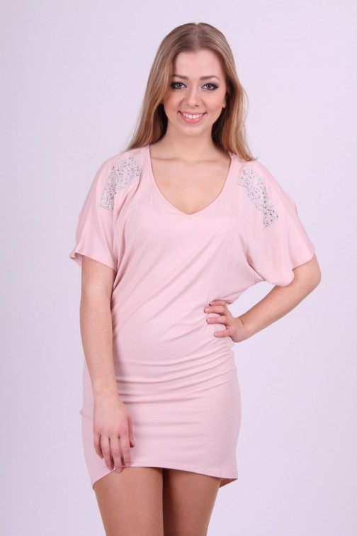 Miss Money Money dress in soft pink met cut-outs