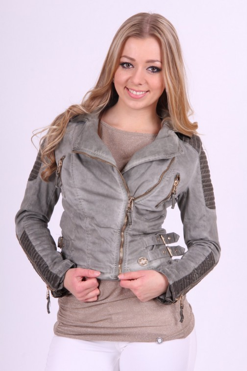 Gaudi jacket in olive met leer