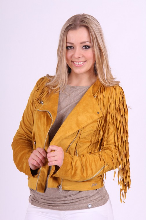Jacky Luxury franje jacket in oker suede