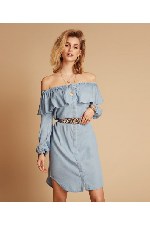 Josh V Renay off-shoulder jurk in denim blue