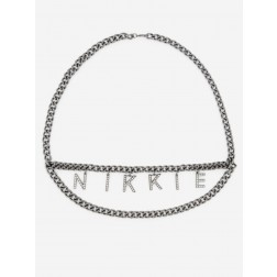 Nikkie Strass Logo waist belt - antique silver