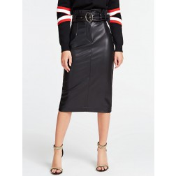 Guess Helene midi skirt in leer