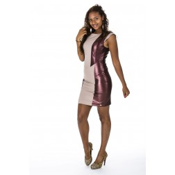 Josefine dress van Josh V in creme met bordeaux leer.