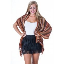 B-loved sjaal met franjes in Missoni print in brown.