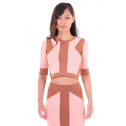 Josh V Croptop soft nude & brown