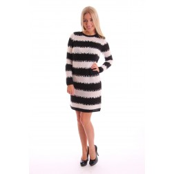 Labee dress gebreid in zwart - wit
