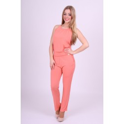 Miss Money Money jumpsuit met ketting in salmon