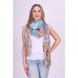 B.loved fringe sjaal in blue ruffel