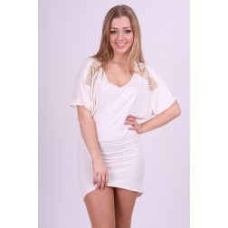 Miss Money Money dress in creme met cut-outs