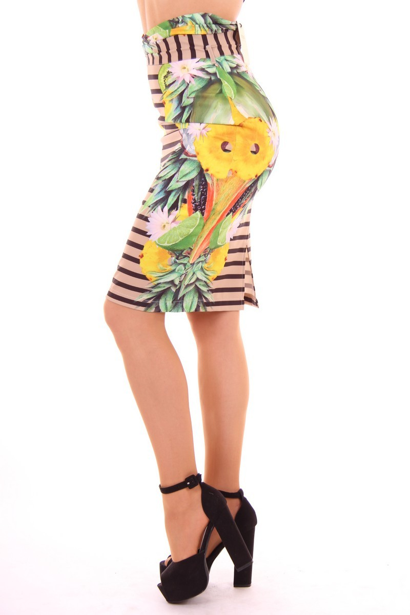 Fracomina pencil skirt in tropical print